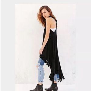 Tasi Malibu black fringe vest Urban Outfitters S